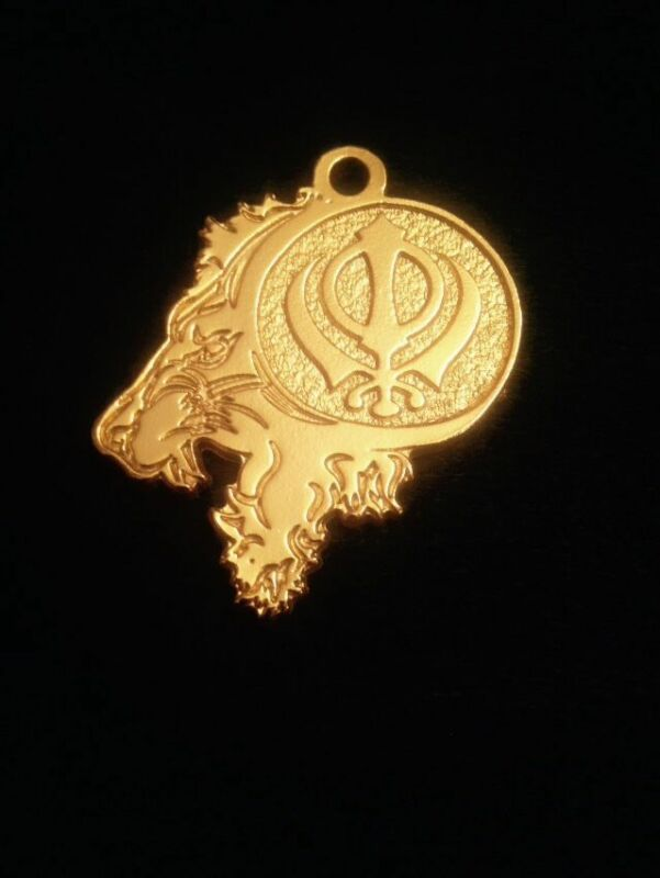 Custom Made Sikh Khanda Sher Lion Pendant 24kt Gold Plated Canada