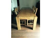 Chunky solid character OAK dining table & four faux leather wooden chairs