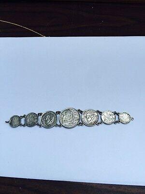 Rare Australia 1943 & 1944 Coin Bracelet 7 Coins Pence, Shilling, Florin