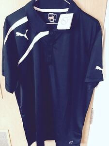 Puma Polo Golf Shirt Black Size Large New