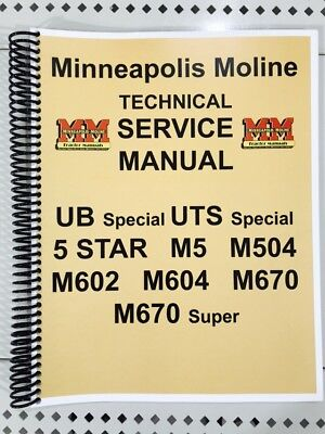 Uts Special Minneapolis Moline Technical Service Shop Manual U Ut Uts