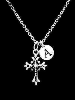 Fleur Cross Necklace Christian Religious Faith Initial Gift Jewelry