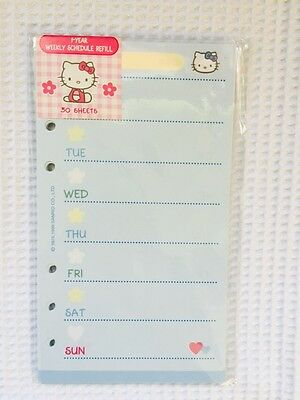 Hello Kitty Day Planner Weekly Schedule Refill Pages Fits Lv Mm Rare A6 Nip