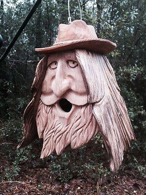 Cedar Birdhouse (Wood Spirit Unique Old Man rustic Hand Carved Cedar Birdhouse Happy)