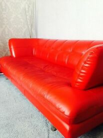 Red leather sofa set 3seater and 2seater with a extra leather foot stool or big cushion