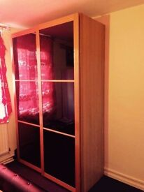 Sliding Glass Wardrobe with shelves & hanging rails for Sale!