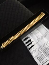 Men's Rolex 9ct gold strap watch bracelet