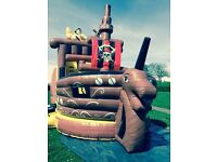 Slide Pirate Ship Bouncy Castle With 2 Petrol Blowers