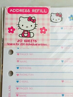 Hello Kitty Address-phone Book Refill Paper Rare Fits Lv Mm A6 - Usa Seller