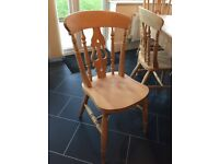 Solid pine dining table with 6 chairs