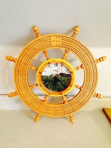 Nice Hand Crafted Ships Wheel Crib Board With Clock, 19.5""