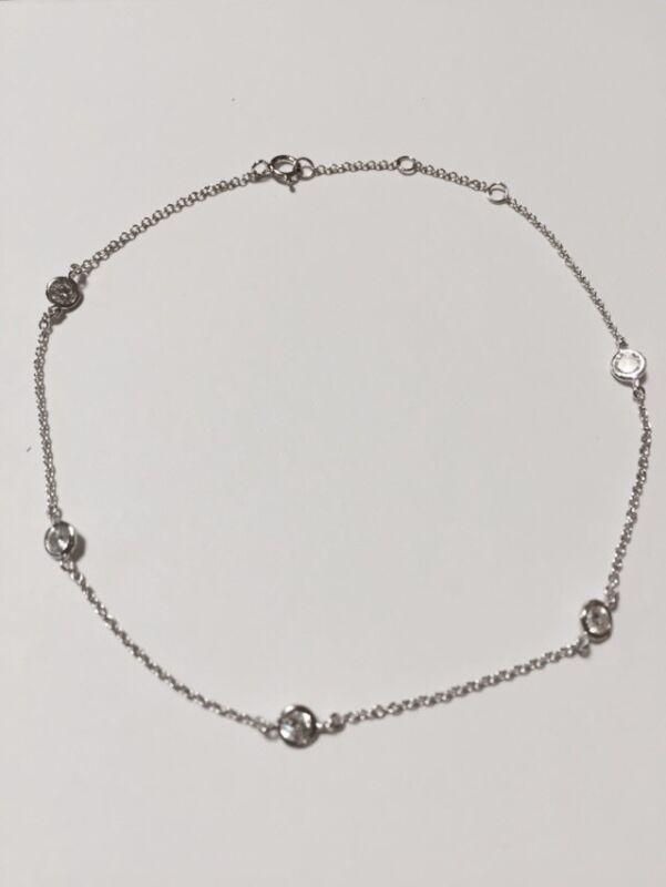 """925 Sterling Silver Diamond By The Yard Anklet Bracelet 9""""-10"""""""