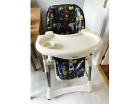 High chair with removable table