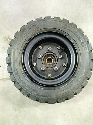 Pair Of 15075 R 8 Pneumatic Tires Rims And Hubs Fits Tennant Sweeper Scrubber