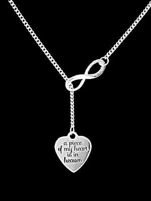 A Piece Of My Heart Is In Heaven Infinity Lariat Necklace Guardian Angel Gift - Guardian Angel Necklace