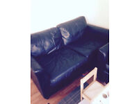 Black leather sofa, IKEA display cabinet and single bed - all good condition-must go by sunday/mond