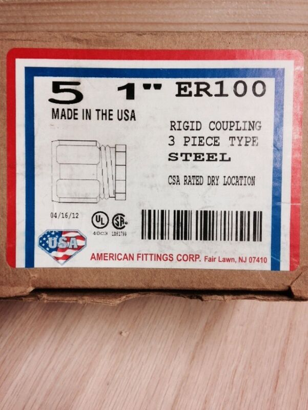 "5 NEW AMERICAN FITTINGS ER-100 ER100 3 PIECE 1"" RIGID COUPLING STEEL"