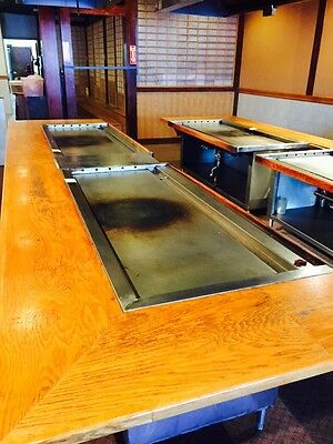 Used Gas Hibachi Grill Griddle Self Contained W. Stainless Cabinet Undershelf