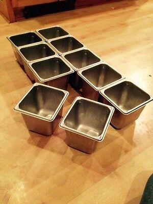 Set Of 10 Stainless Steel 1/6 Steam Pans Vollrath NSF