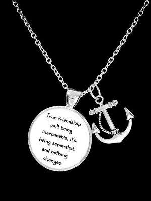 Best Friend Necklace True Friendship Long Distance Friend Sisters Anchor (Long Distance Best Friend Necklaces)