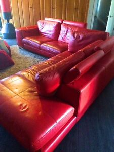 Red Leather modular lounge Ashmore Gold Coast City Preview