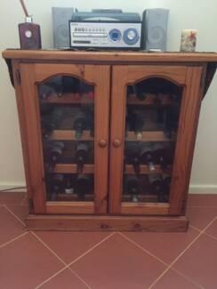 Pine Wine Cabinet and Wine Rack