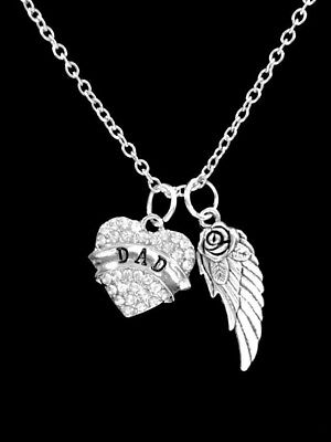 Memorial Necklace Dad Heart Guardian Angel Wing Sympathy Gift Jewelry