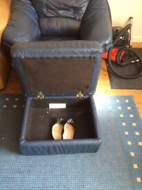 FREE leather armchair and footstall- needs to be collected ASAP