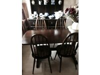 Ercol Dark Elm Refrectory Table and Four Quaker Chairs