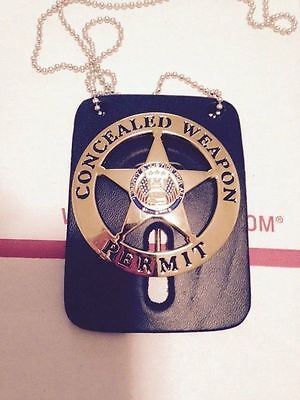 "CONCEALED CARRY WEAPONS PERMIT BADGE GOLD W/FREE LEATHER 2.25"" Handgun Pistol"