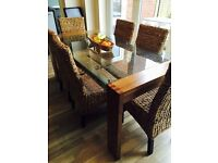 Dining Room table & 6 Chairs, Sideboard, Side table, Coffee Table - walnut, chrome and glass