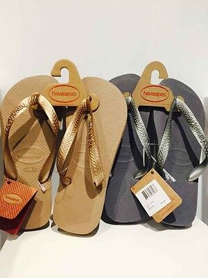 - Havaianas Top Metallic Womens Sandals - 4000733 ROSE GOLD STEEL GRAY SIZE 5/6