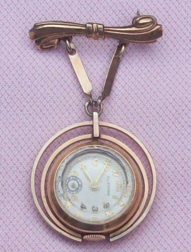 Vintage Antique Art Deco 10K Y RGP Modernist Lapel Watch Pin Drop Brooch Runs