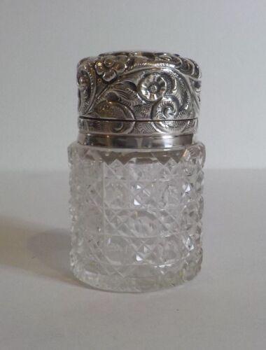 English Cut Crystal Dresser/Toiletries Jar, Charles May Sterling Silver, c.1897
