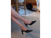 Black Satin Evening Shoes with embellishment, size 6