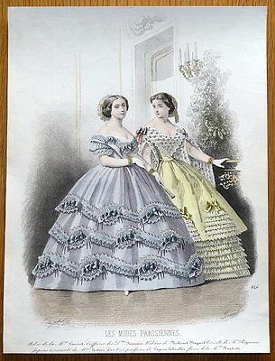 LES MODES PARISIENNE, PARIS FASHION plate 846 antique hand coloured print 1859