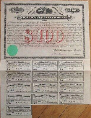 1873 Bond Certificate: 'Covington Glass Company' - Pennsylvania PA