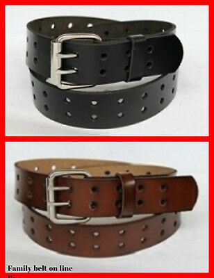 NEW MEN 2 DOUBLE HOLES DRESS CASUAL LEATHER BELT 2 PRONG ROLLER REMOVABLE (2 Mens Dress Belts)