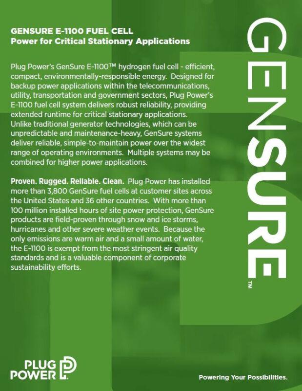 Gensure E-1100 fuel cell