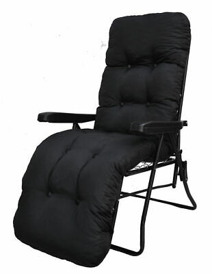 Garden Sun Lounger Multi Position Reclining Relaxer Chair and Black Cushion