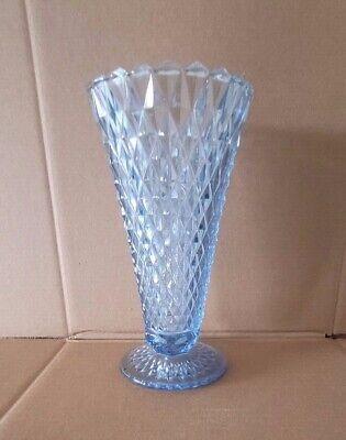 Glass Vase~Vintage~Colbalt~Glass~Footed~Lattice Edge