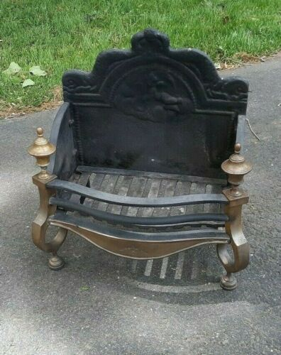 Antique Brass Cast Iron Fireplace Insert With Fireback Log Holder