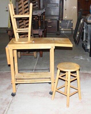 Butcher Block Island Cart Table Kitchen Rack Cutting Board Shelf Rolling  Stand W