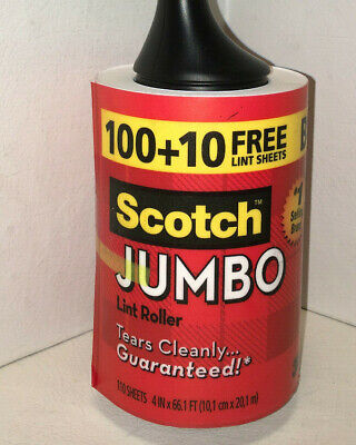 Scotch Jumbo Lint Roller - 110 Sheets -3M -Pet Hair Remover -Tears Cleanly -NEW