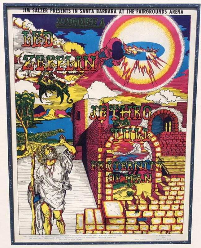 Led Zeppelin/Jethro Tull poster - Original 1969 FIRST Printing Framed