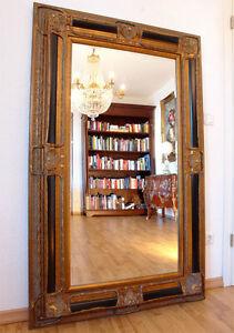 Grand miroir baroque 160x98cm cadre en bois dore noir for Grand miroir cadre noir