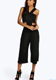 Black Cut Out Culotte Jumpsuit