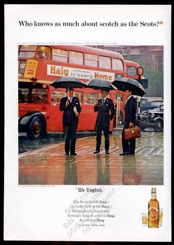 1965 double-decker bus London photo Haig & Haig Scotch whisky vintage print ad