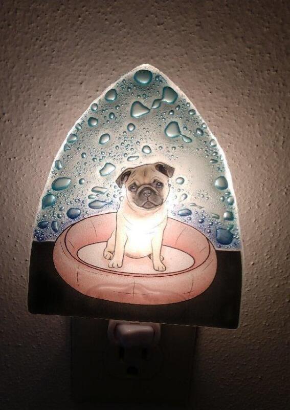 Pug Night Light Dog Fused Art Glass Ecuador