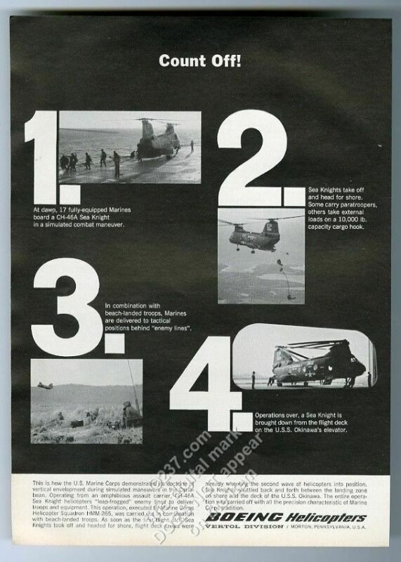 1965 US Navy Marines 4 photo Boeing Sea Knight helicopter vintage print ad